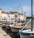 Martigues provence france bouches du rhone alpes cote d azur the old harbor with boats Royalty Free Stock Image