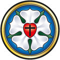 Martin luther rose colorized illustration of the seal also called a widely recognized symbol for lutheranism the components of Stock Photos