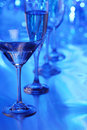 Martini glass in blue light Royalty Free Stock Photo