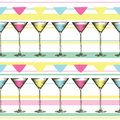 Martini glass with colorful drinks in engraved style. Seamless pattern of glasses on striped background.