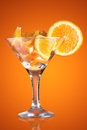 Martini glass with orange Royalty Free Stock Photo