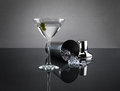 Martini glass and shaker on grey background a glossy isolated a dark with a ice Stock Photo