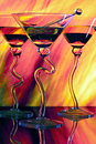 Martini glasses with colorful background Royalty Free Stock Images