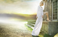 Marvelous angel with the sunset in the background lady Stock Images