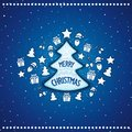 Marvelous christmas tree with toys and an inscription on blue winterly background vector eps Stock Photos