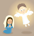 Mary and the angel illustration of praying visiting Royalty Free Stock Image