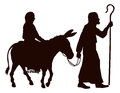 Mary and joseph silhouettes silhouette illustrations of journeying with a donkey looking for a place to stay on christmas eve Royalty Free Stock Image