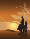 Mary and joseph travel to bethlehem at sunset Royalty Free Stock Images
