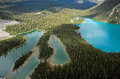 Mary lake en meer o hara yoho national park canada Stock Afbeelding
