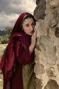 Mary Magdalene crying at Jesus empty tomb Royalty Free Stock Photo