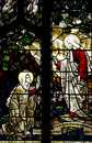 Mary Magdalene and Jesus Christ in stained glass