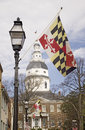 Maryland State Flag and gas lamp Stock Photo