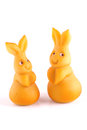Marzipan bunnies two easter isolated on white Stock Photos