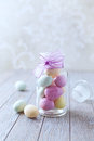 Marzipan easter eggs in a jar colorful vintage Royalty Free Stock Photography