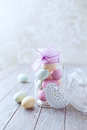 Marzipan easter eggs in a jar colorful vintage Royalty Free Stock Image