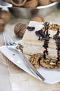 Marzipan walnut cake on a small plate Stock Photography