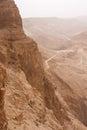 Masada mountain in the haze Stock Photos