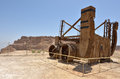 Masada stronghold israel isr apr reconstruction of a roman siege engine under in the judaean desert is one of Royalty Free Stock Image