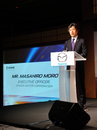 Masahiro Moro giving speech at Mazda CX-5 launch Royalty Free Stock Image