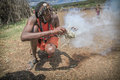 Masai men making fire  Royalty Free Stock Image