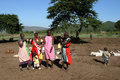 Masai tribe kenya mara june group of african girls and children from in show their traditional clothes on june in a Royalty Free Stock Photo