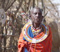 Masai woman in traditional dress and jewellery village near ngorogoro crater tanzania on th september wearing elaborate hand made Royalty Free Stock Photo