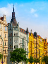 Masaryk embankment in prague colorful houeses on or masarykovo nabrezi old town of czech republic Royalty Free Stock Image