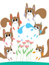 Mascot animal monster watering flower illustration design mix Stock Image