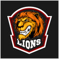 Mascot Lions - sport team logo template. Lion head on the shield. T-shirt graphic, badge, emblem, sticker.