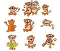 Mascot monkeys family the father mother and children Stock Images
