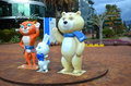 Mascots of the olympic games sochi russua jan bunny bear and leopard on street navaginskaya Royalty Free Stock Images