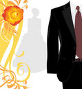 Masculine suit and silhouette of fiancee Royalty Free Stock Photo