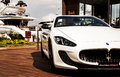 Maserati GranCabrio left side  in italy Royalty Free Stock Photo