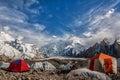 Masherbrum as seen from goro campsite baltoro glacier Royalty Free Stock Photography