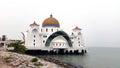 Masjid selat melaka the straits mosque melaka malaysia is located near seaside of famous malacca Stock Photography