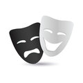 Mask abstract cinema symbol with shadow effect on white background Royalty Free Stock Photos