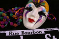 Mask, Beads and Rue Bourbon Stock Photo