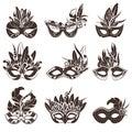 Mask Black White Icons Set Royalty Free Stock Photo