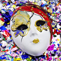 Mask and confetti Stock Photography