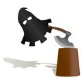 The mask and the executioners ax executioner to commit penalty illustration on a white background Stock Photo