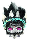 Mask with gemstone beads and jewels wild feathered performer nad jewelry Royalty Free Stock Image
