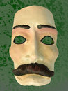 Mask with mustache green background