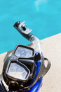 Mask and snorkel by the pool Stock Photos