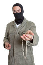 Masked burglar showing jewelry on an isolated white background for cut out Stock Photos