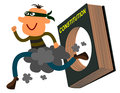 Masked criminal running outside hole book constitution Stock Images