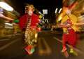 Masked dancers at a night festival in Japan Stock Photos