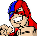 Masked mad man comic book style illustrated with squeezed fists Stock Photo