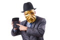 Masked man with calculator Royalty Free Stock Photo