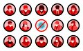 Masked people profiles and warning sign for corona virus