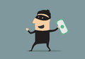 Masked thief with money in cartoon excited smiling black mask and costume flat style holding a stolen dollar banknote Stock Images